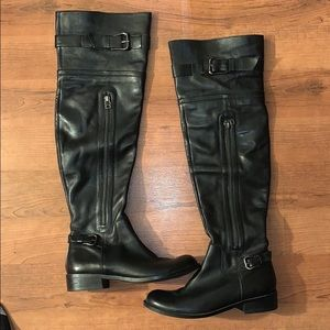 Steven Black Leather over the knee Boots Size 8